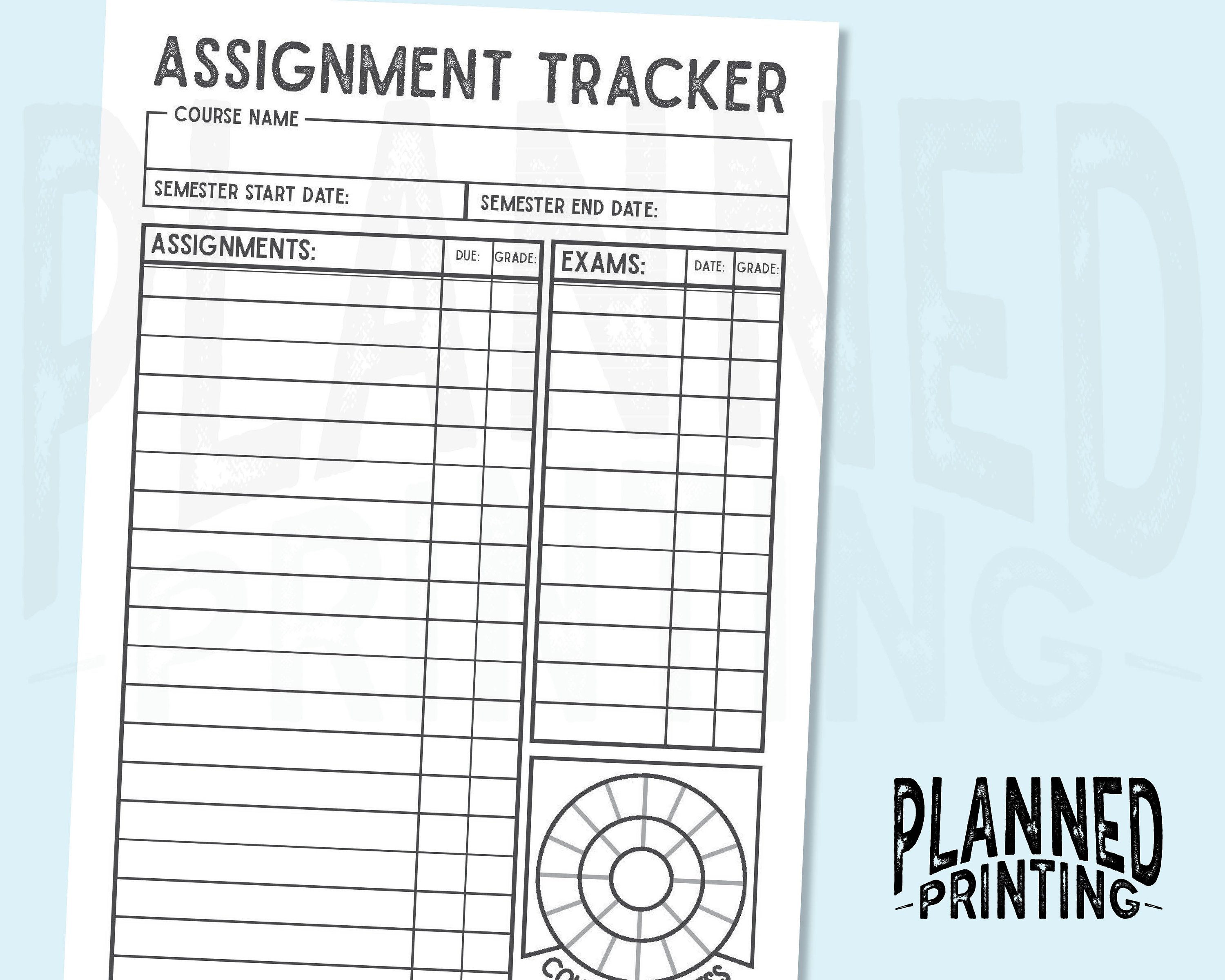 image regarding Grade Tracker Printable called A5 Semester Assignment Tracker Printable